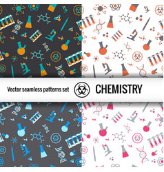 chemistry doodle patterns set vector image