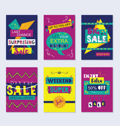 Purple navy blue and yellow funky sale cards set vector