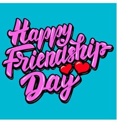 Happy friendship day lettering phrase with heart vector