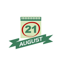 21 august calendar with ribbon vector