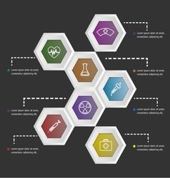 3d hexagon shape infographic on black background vector