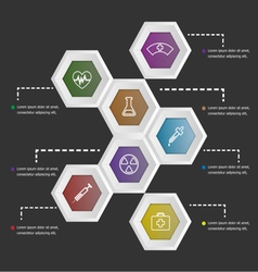 3d hexagon shape infographic on black background vector