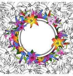 Lily flower round frame vector