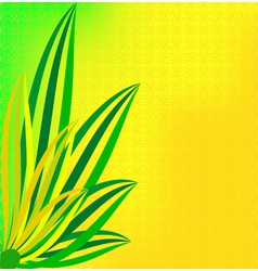 Green leaves on a dim yellow background vector