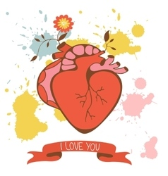 Concept love card with human heart and flowers vector