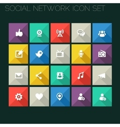 Modern social icons with long shadows vector
