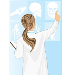 Medical doctor woman pointing on tomography vector