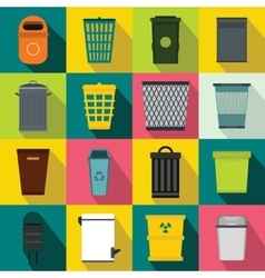 Trash can icons set flat style vector