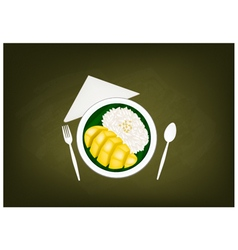 Thai ripe mango with sticky rice on chalkboard vector