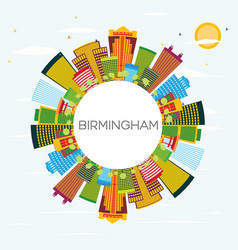 birmingham skyline with color buildings blue sky vector image