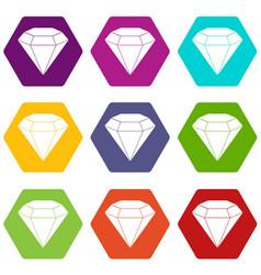 brilliant gemstone icon set color hexahedron vector image vector image