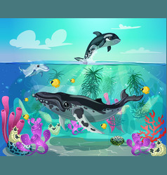 cartoon colorful sea life background vector image vector image