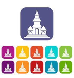 Church icons set vector