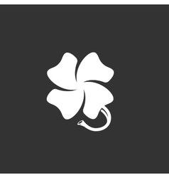Clover logo on black background icon vector