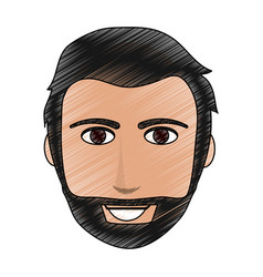 Color pencil cartoon front face man with beard and vector