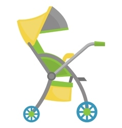 Colourful baby stroller vector