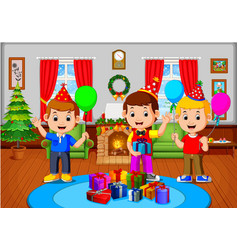 Cute kids in the living room during christmas vector