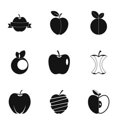 eco apple icon set simple style vector image