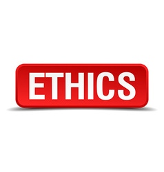 Ethics red 3d square button isolated on white vector