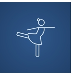 Female figure skater line icon vector image