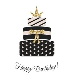 Glam birthday cake for girls vector