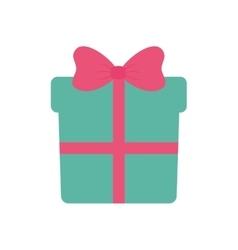 green gift box with pink ribbon vector image