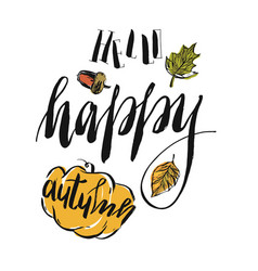 hand drawn autumn with pumpkin vector image