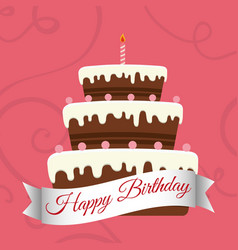 Happy birthday sweet cake candle vector