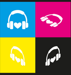 headphones with heart white icon with vector image