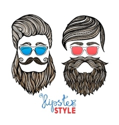 Hipsters heads colored glasses doodle pictograms vector