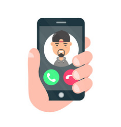 incoming call on smartphone screen vector image