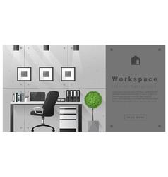 Interior design Modern workspace background 8 vector image