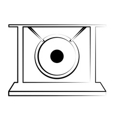 Isolated gong outline musical instrument vector