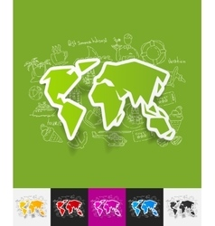 map paper sticker with hand drawn elements vector image
