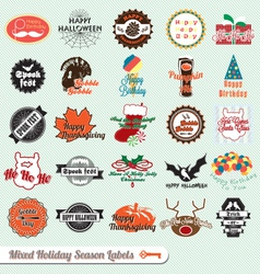 Mixed holiday labels vector