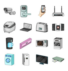 modern household appliances cartoon icons in set vector image