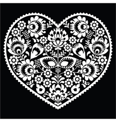 Polish white folk art heart pattern on black vector image vector image