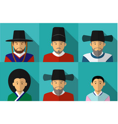 portrait of korean people in traditional costume vector image vector image