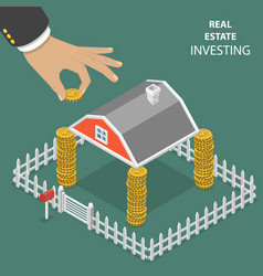 Real estate investing flat isometric vector