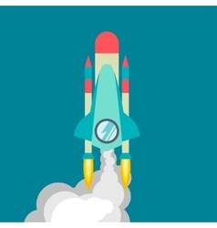 Rocket ship in a flat style vector image vector image