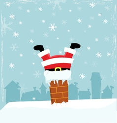 Santa Stuck In Chimney vector image