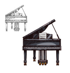 sketch piano music instrument vector image