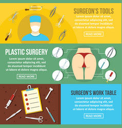 surgeon tools banner horizontal set flat style vector image vector image