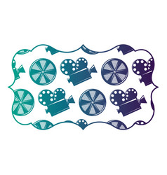 vintage label with movie camera projector and reel vector image