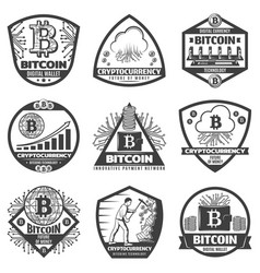 Vintage monochrome crypto currency labels set vector