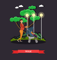 Walk with baby concept in flat vector