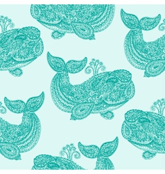 Whale in paisley doodle mehndi style vector