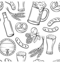Hand drawn beer seamless pattern vector image