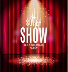 Theatrical background with a red curtain and a vector image