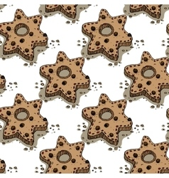 Christmas pattern with gingerbread cookies vector image